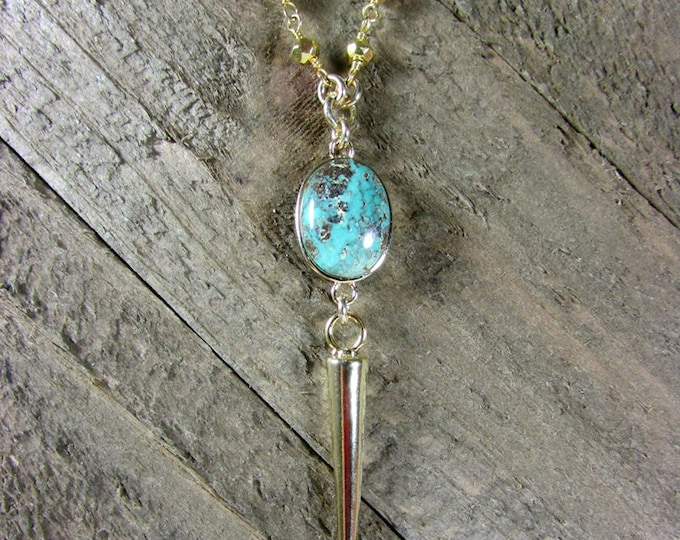 Turquoise Gold Pyrite Necklace | Spike Pendant | Statement Necklaces