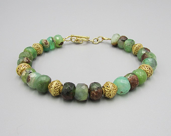 Chrysoprase Bracelet | Green Brown Gemstone Bracelets | Signature Jewelry