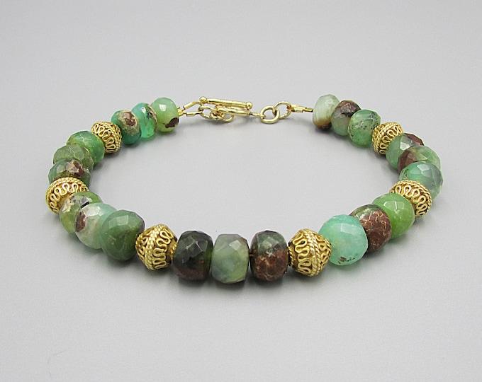 Chrysoprase Bracelet   Green Brown Gemstone Bracelets   Signature Jewelry