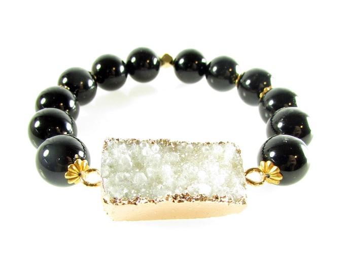 Black Onyx Stretch Bracelet | White Druzy Focal | Round Stone Bracelets | Statement Jewelry
