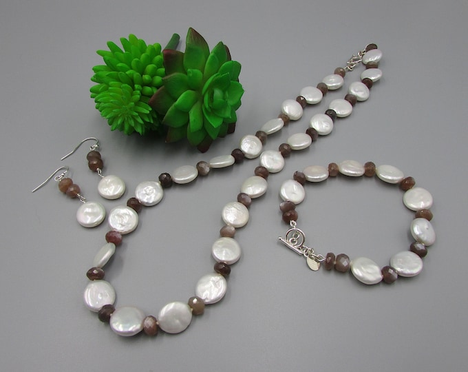 Pearl Jewelry Set | Coin Pearl Necklace Bracelet Earrings