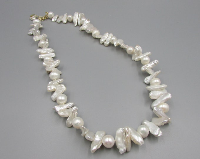 Hand Knotted Pearls Necklace | White Pearl Statement NeckLace | Biwa Pearls | Wedding Jewelry