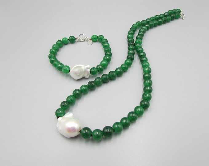 Green Jade Necklace Set | Baroque Pearl Necklace