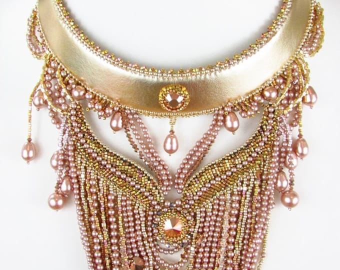 Pearl Bib Necklace | BOTB 2014 |  Bead Embroidery Necklace | Beaded Pearl Collar