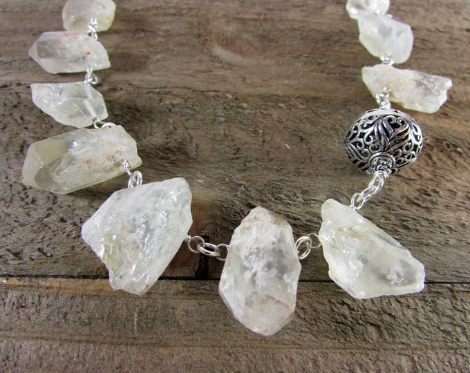 Crystal Quartz Necklace | Raw Stone Choker | Statement Necklace