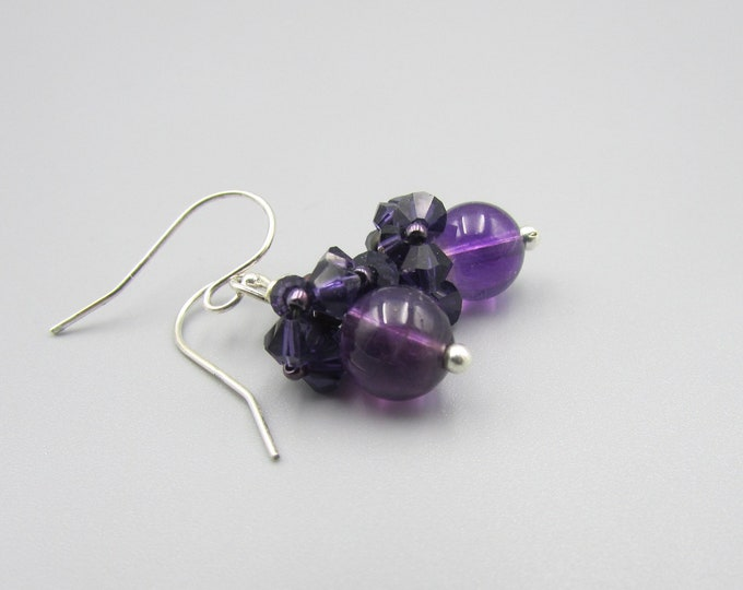 Amethyst Earrings | Round Stone Earrings | Amethyst Drop Earrings | February Birthstone