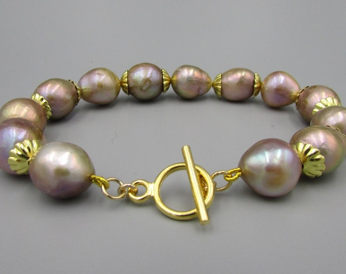 Freshwater Pearl Bracelet | Hand Knotted Pearl Jewelry | Baroque Bracelet | Edison Pearl Bracelet