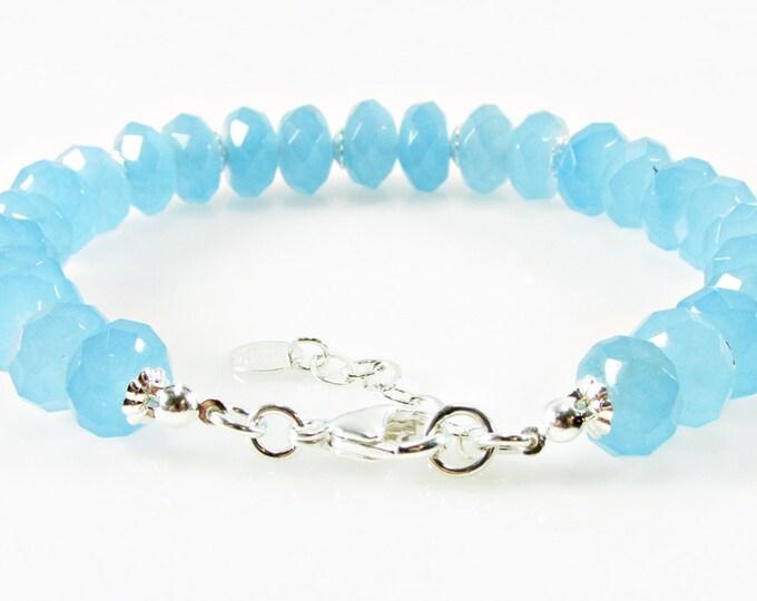 Blue Quartz Bracelet, Gemstone Jewelry, Sterling Silver Jewelry