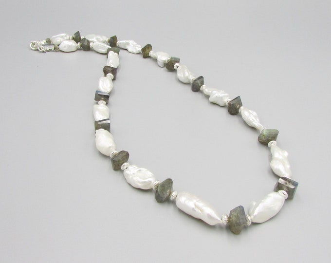 Keshi Pearl Necklace, Labradorite Necklace, White Pearl Necklace