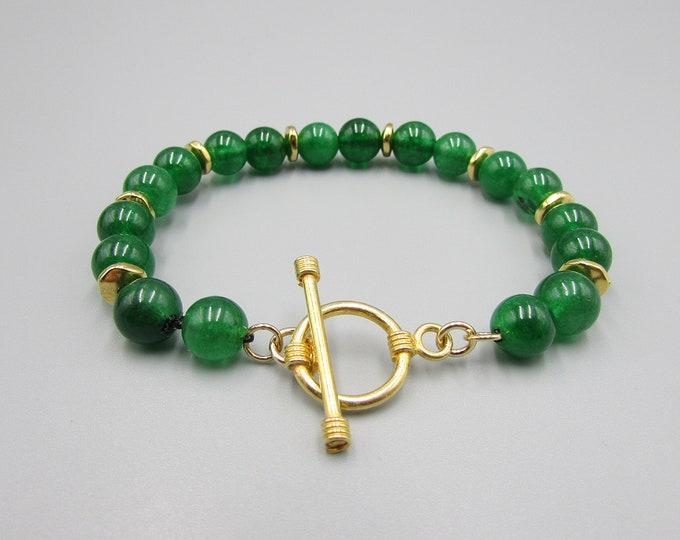 Jade Bracelet Gold Hand Knotted