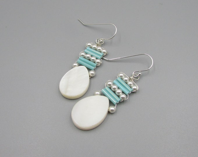 Mother of Pearl Teardrop Earrings | Pearl Turquoise Wire Wrapped Dangle | Signature Earrings