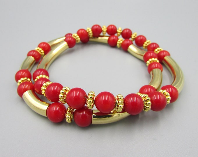 Red Coral Bracelet | Stretch Bracelets