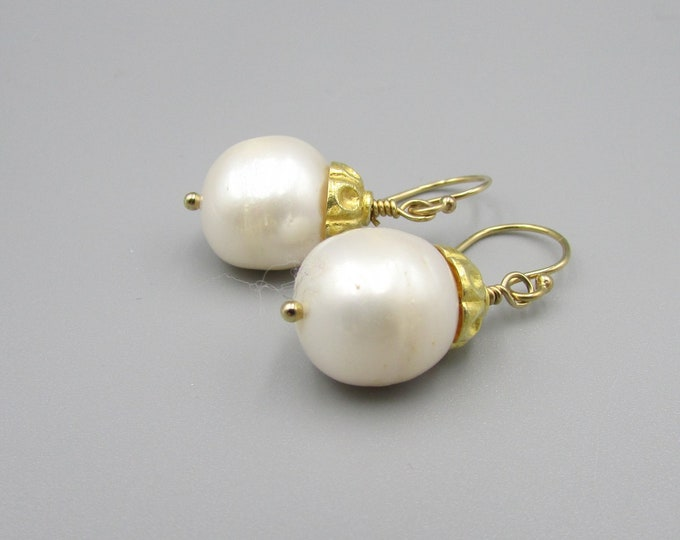 White Pearl Drop Earrings| Large Pearl Dangles | Simple Earrings | Classic Pearls | Freshwater Pearls