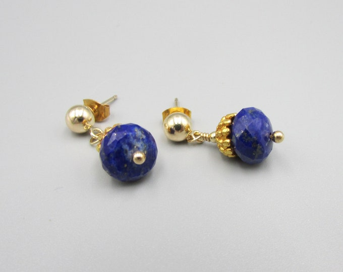 Gold Stud Earrings | Lapis Earrings | Simple Earrings
