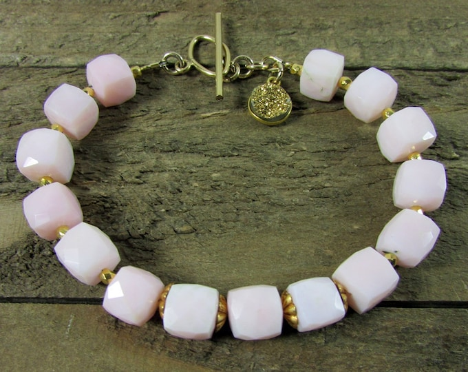 Pink Opal Bracelet | Peru Opal Jewelry | Peruvian Opal Bracelets | Gemstone Jewelry