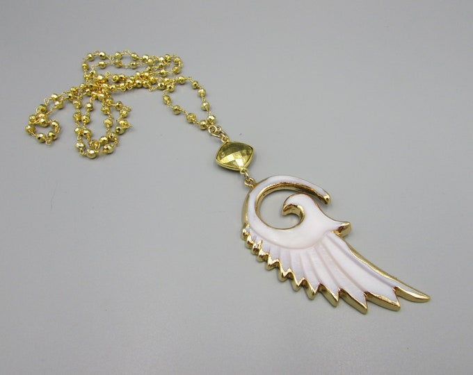 Long Wing Pendant Necklace | Gold Rosary Chain Mother of Pearl Pendant | Statement Necklace | Layering Necklaces