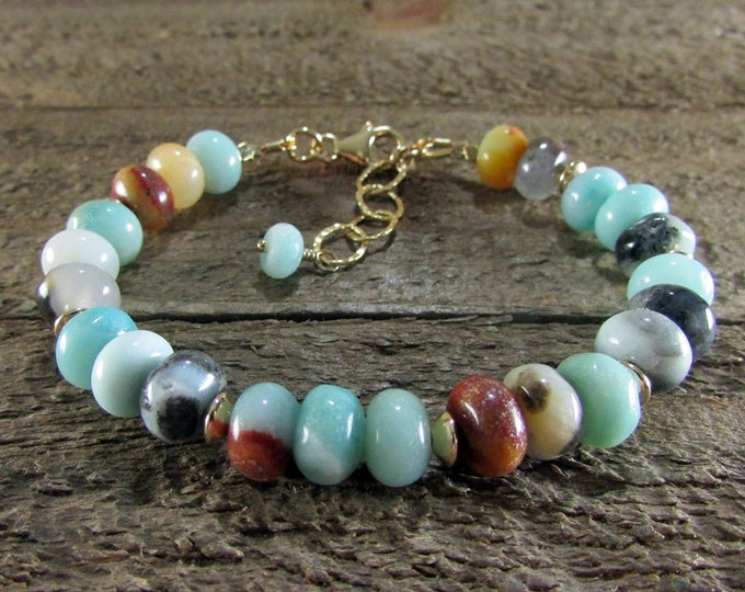 Peruvian Opal & 14K Gold Filled Gemstone Bracelet