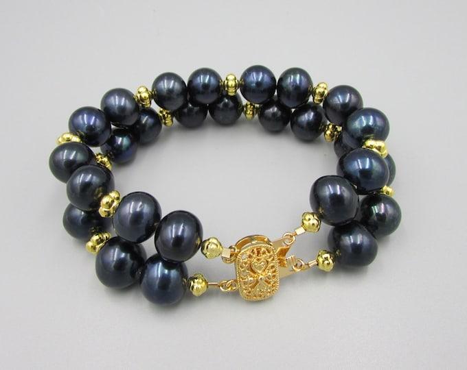 Black Pearl Bracelet | Multi Strand Bracelets Gold