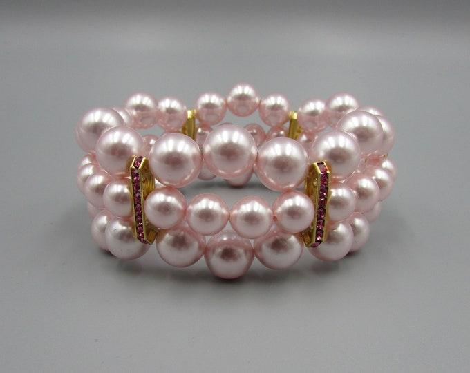 Pink Triple Strand Pearl Bracelet | Pink Crystal Pearl Jewelry | Bold Bracelets