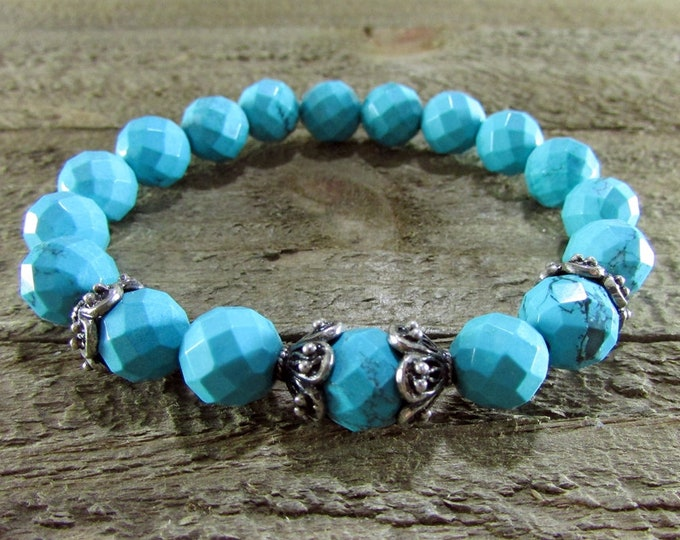 Blue Turquoise Stretch Bracelet | December Birthstone