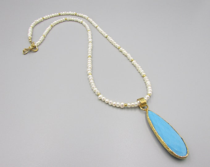Pearl Necklace Turquoise Pendant Gold