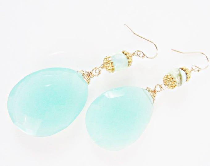 Blue Chalcedony Long Earrings | Chalcedony & Gold Dangles | Bold Earrings | Gemstone Earrings