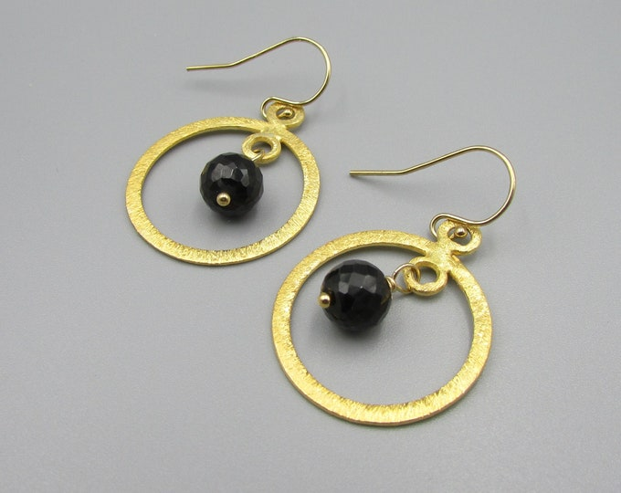 Black Spinel Earrings | Gold Vermeil Dangles | Simple Earrings | Signature Earrings