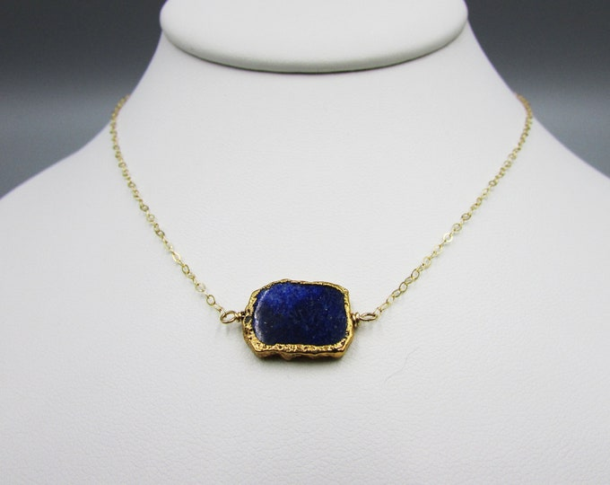 Simple Gold Lapis Choker | Minimalist Choker Necklace | Dark Blue Choker