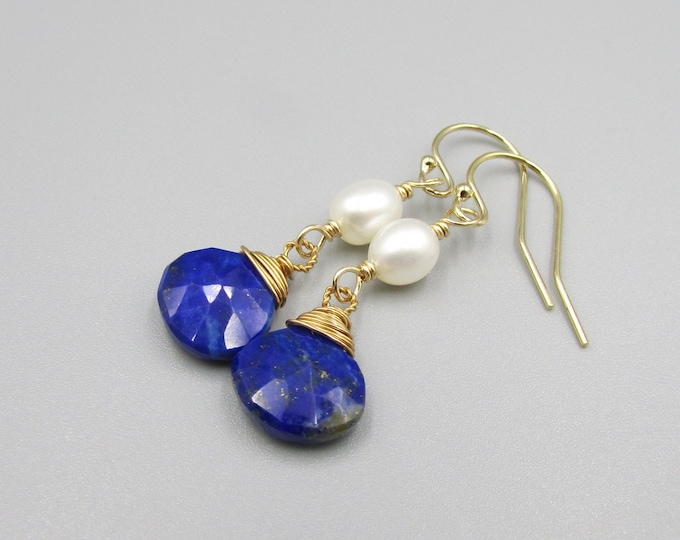 Lapis & Freshwater Pearl Earrings | Dark Blue Dangles | Signature Style Earring