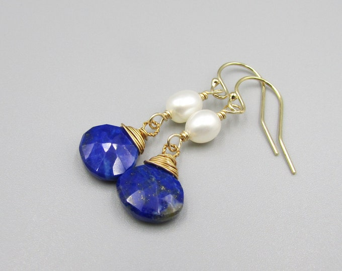 Dark Blue Dangles | Lapiz & Freshwater Pearl Earrings | Signature Style Earring