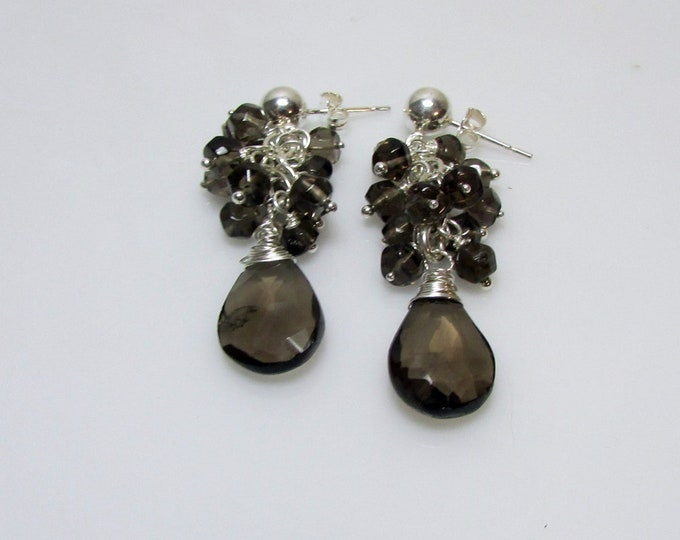 Smoky Quartz Cluster Stud Earrings