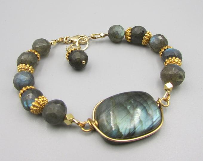 Labradorite Gemstone Bracelet | Gold Filled Labradorite Bracelet | Signature Jewelry | Bold Gemstone Bracelet