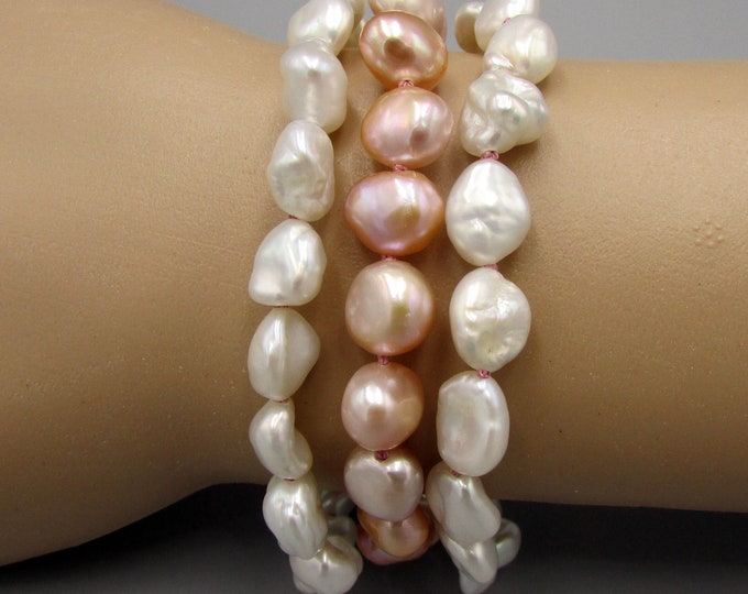 Hand Knotted Pearls, Triple Strand Nugget Pearls Bracelet, Pink White Keshi Pearls