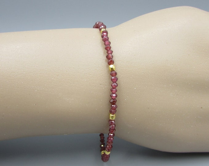 Delicate Red Garnet Bracelet | Simple Bracelets