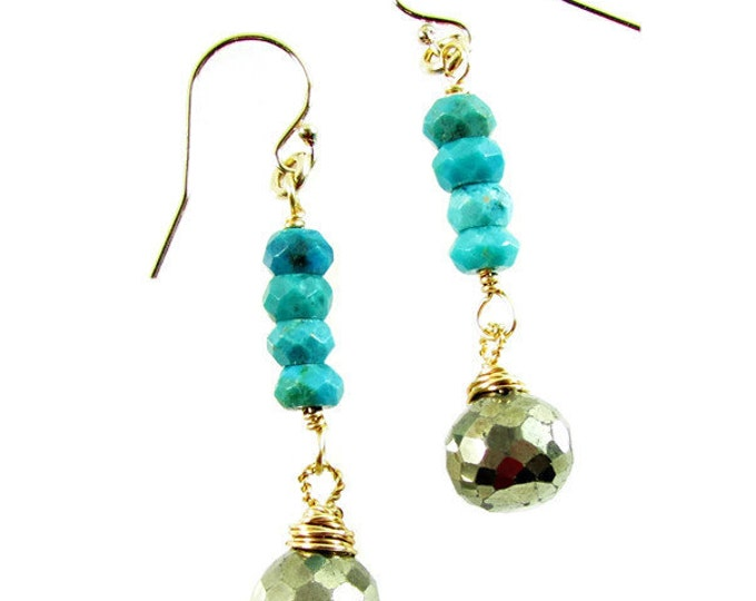 Pyrite Earrings | Turquoise Dangles | Turquoise Drop Earrings | Signature Earrings