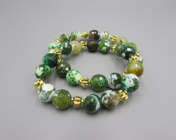 Green Agate Bracelet | Bold Agate Stretch Bracelets | Green White Agate Bracelet | Stacking Bracelets
