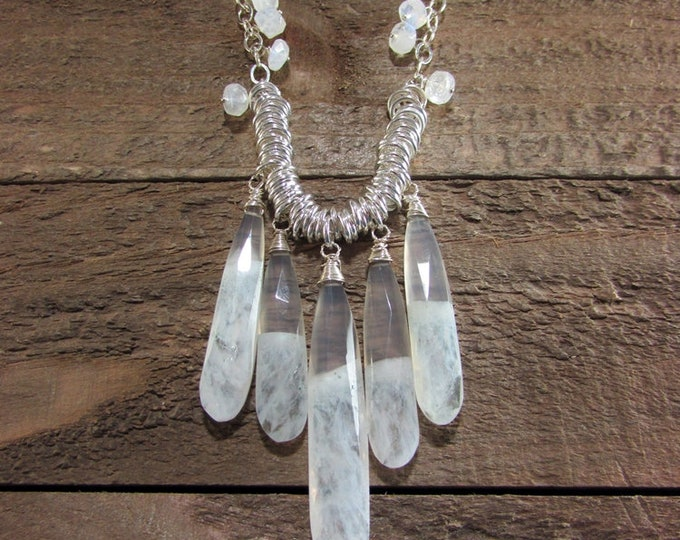 Solar Quartz & Moonstone Sterling Necklace, Large Teardrop Gemstone Jewelry, Wedding Necklace
