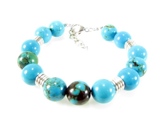 Turquoise Bracelet | Blue Matrix Turquoise Bracelet | Bold Bracelets | Round Stone Bracelet