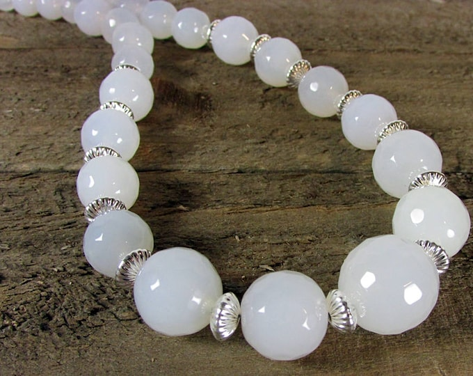 White Onyx Graduating Necklace | Faceted Round Stone Necklace | Wedding Jewelry