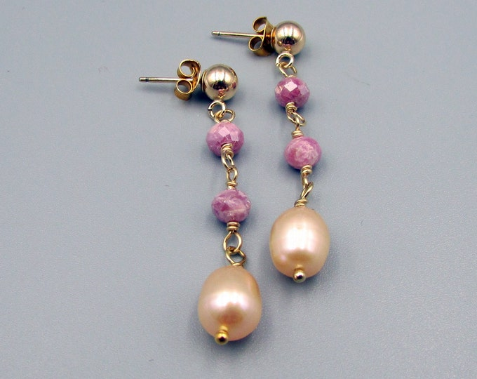 Long Pearl Earrings | Pink Sapphire Earrings | Delicate Earrings