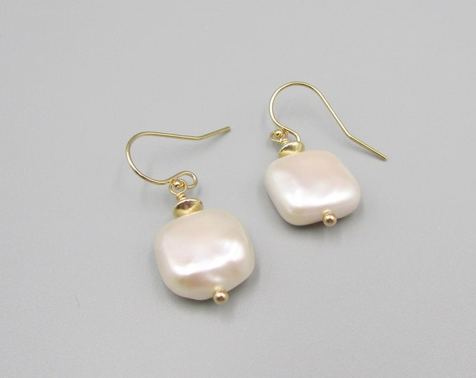 Ivory Pearl Earrings | Square Pearl Earrings | Baroque Pearl Earrings | Gold Filled or Sterling Silver