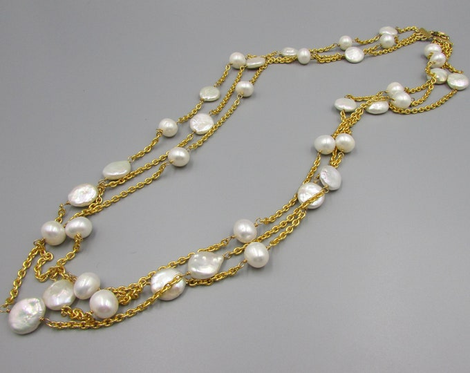 Multi Strand Pearl Necklace | Long Pearl Layered