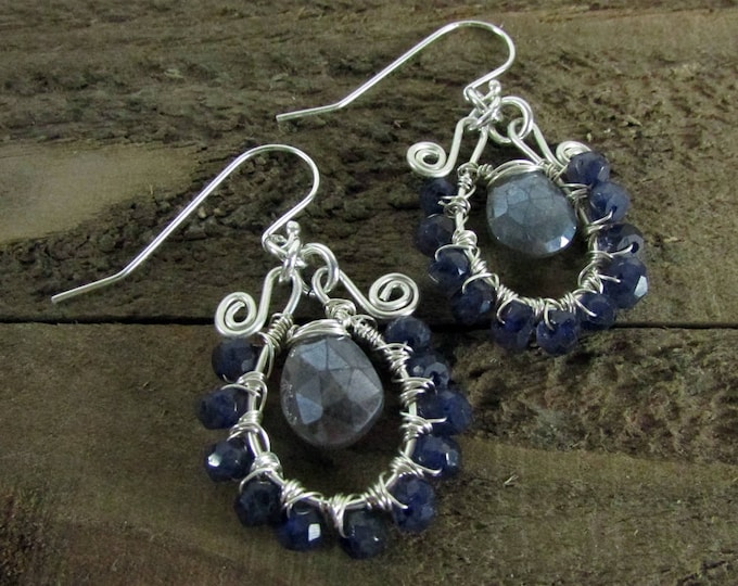 Iolite Earrings | Mystic Labradorite Wire Wrapped Earrings | Statement Jewelry