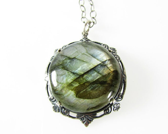 Genuine Labradorite & Sterling Silver Necklace