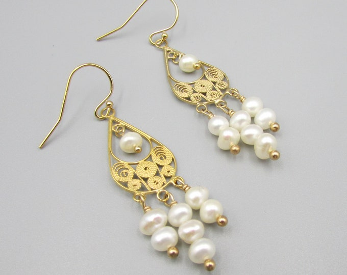 Long Pearl Earrings | Signature Gold Filigree Pearl Earrings | June Birthstone | Original Earrings