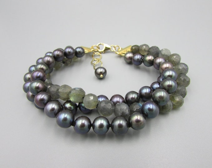 Peacock Pearls Bracelet | Labradorite Pearl 3 Strand Bracelets | Signature Jewelry