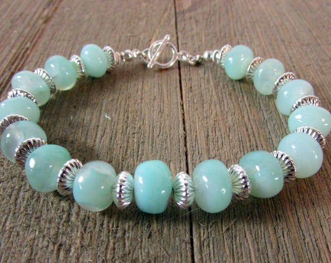Blue Chalcedony & Sterling Silver Bracelet