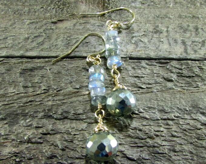 Pyrite & Labradorite Gold Dangle Earrings