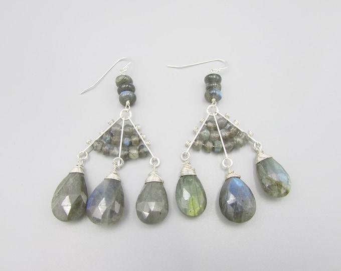 Mystic Labradorite Earrings | Statement Earrings