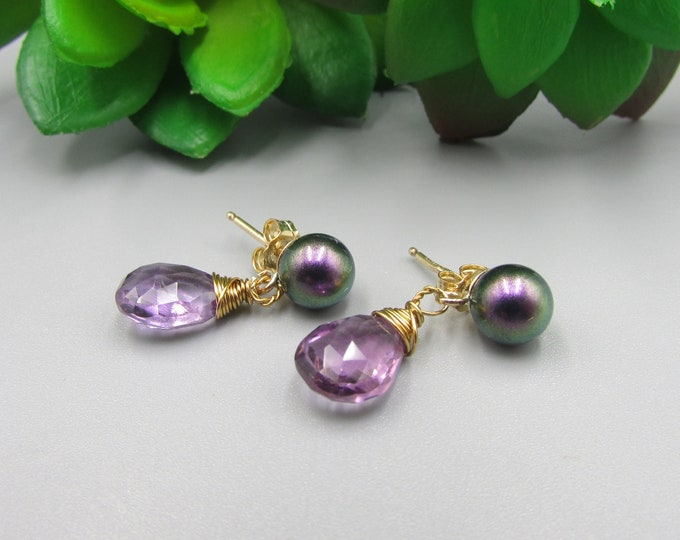 Amethyst & Pearl Stud Earrings